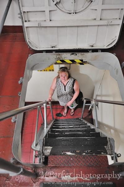 Melinda going below deck on USS Yorktown
