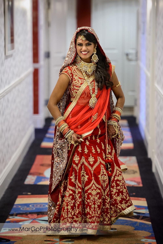 indian bride walking down the hallway at Hotel Shattuck Plaza in Berkeley