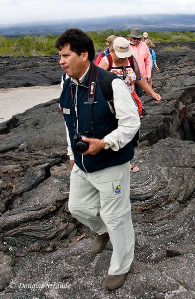 Naturalist William leads our group at Punta Espinoza, Fernandina Island