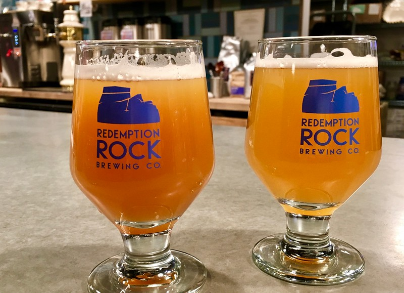 beers at Redemption Rock Brewery in Worcester, Massachusetts