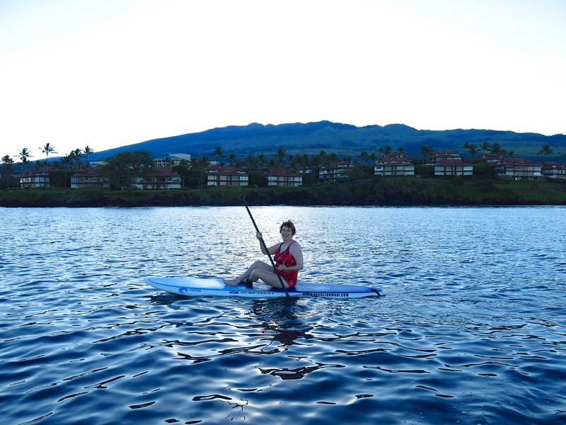 Enjoying a sunrise paddleboard on Maui, Hawaii.