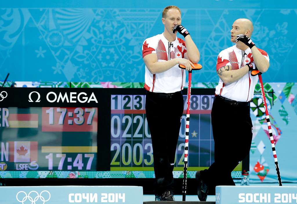 . Canada\'s skip, Brad Jacobs, left, and Ryan Fry, right, discuss tactics during the men\'s curling competition against Germany at the 2014 Winter Olympics, Monday, Feb. 10, 2014, in Sochi, Russia. (AP Photo/Wong Maye-E)