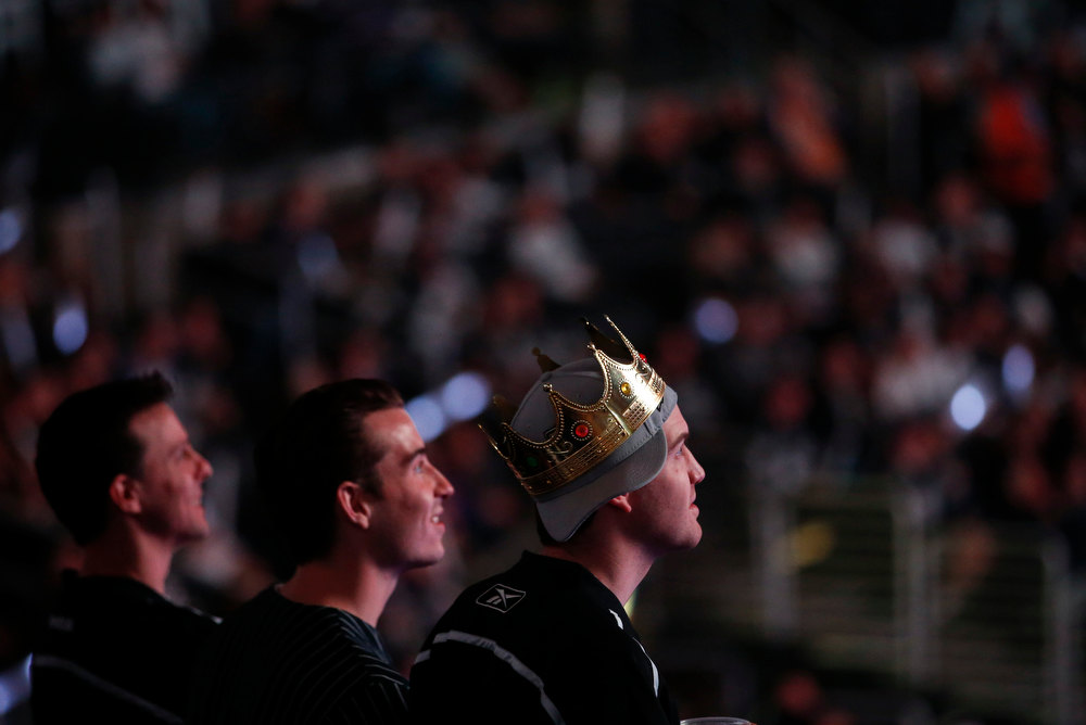 Description of . Los Angeles Kings fans watch a presentation before an NHL hockey game between the Kings and the Chicago Blackhawks in Los Angeles, Saturday, Jan. 19, 2013. The Blackhawks defeated the Stanley Cup champions 5-2. (AP Photo/Jae C. Hong)