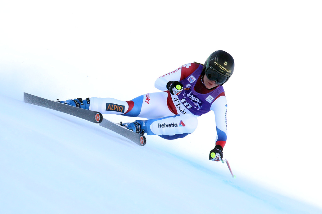 . Fabienne Suter of Switzerland competes during the Audi FIS Alpine Ski World Cup Women\'s Downhill on December 20, 2014 in Val dâIsere, France. (Photo by Christophe Pallot/Agence Zoom/Getty Images)