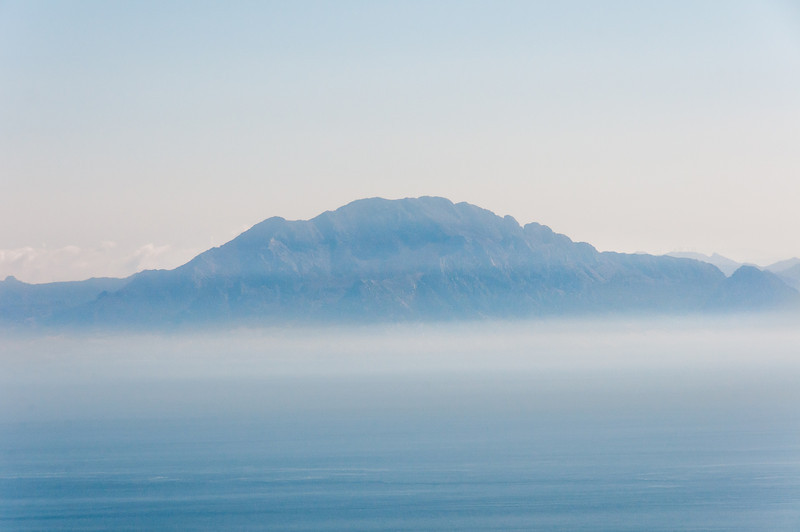 Silhouette of the mountain from across the sea in Gibraltar