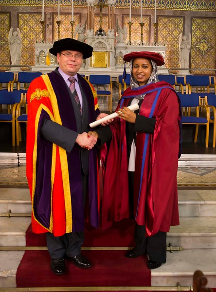 Waterford Institute Of Technology Conferring. Pictured at WIT Waterford Institute Of Technology Conferring is Reem Elsiddig, Waterford who was conferred a Doctor of Philosophy from Dr. Ruaidhrí Neavyn, President, WIT. Picture: Patrick Browne