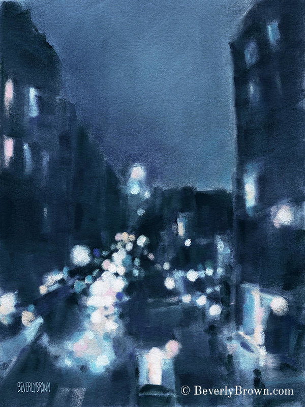 New York wall art featuring a cityscape across 23rd Street at night, as seen from the New York High Line. Painted in shades of midnight blue, white aqua and pink by New York artist, Beverly Brown. New York-themed custom framed prints and canvas wall art for sale at www.beverlybrown.com