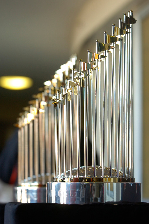 . The 2010 and 2012 World Series Trophies are on display at the Richmond Memorial Auditorium in Richmond, Calif. on Monday, Jan. 14, 2013.  (Kristopher Skinner/Staff)