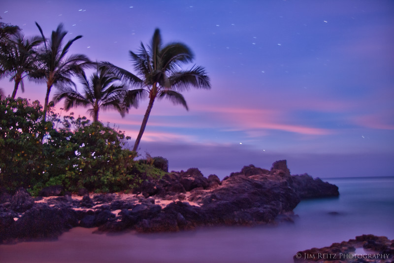 Everything glows in pastel colors just before dawn - Secret Beach, Maui