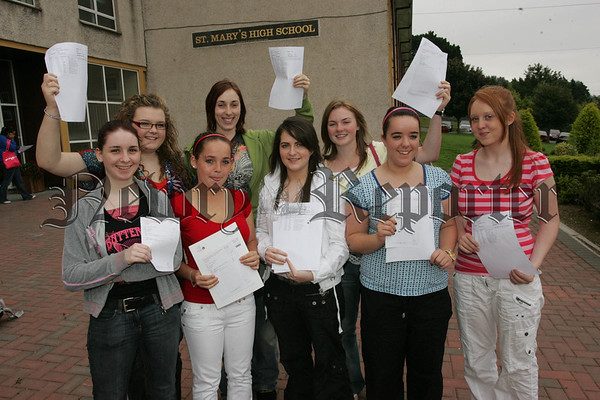 Pictured are pupils from St Mary's High School Newry who recievd their G.C.S.E. results on THursday last. 07W35N7