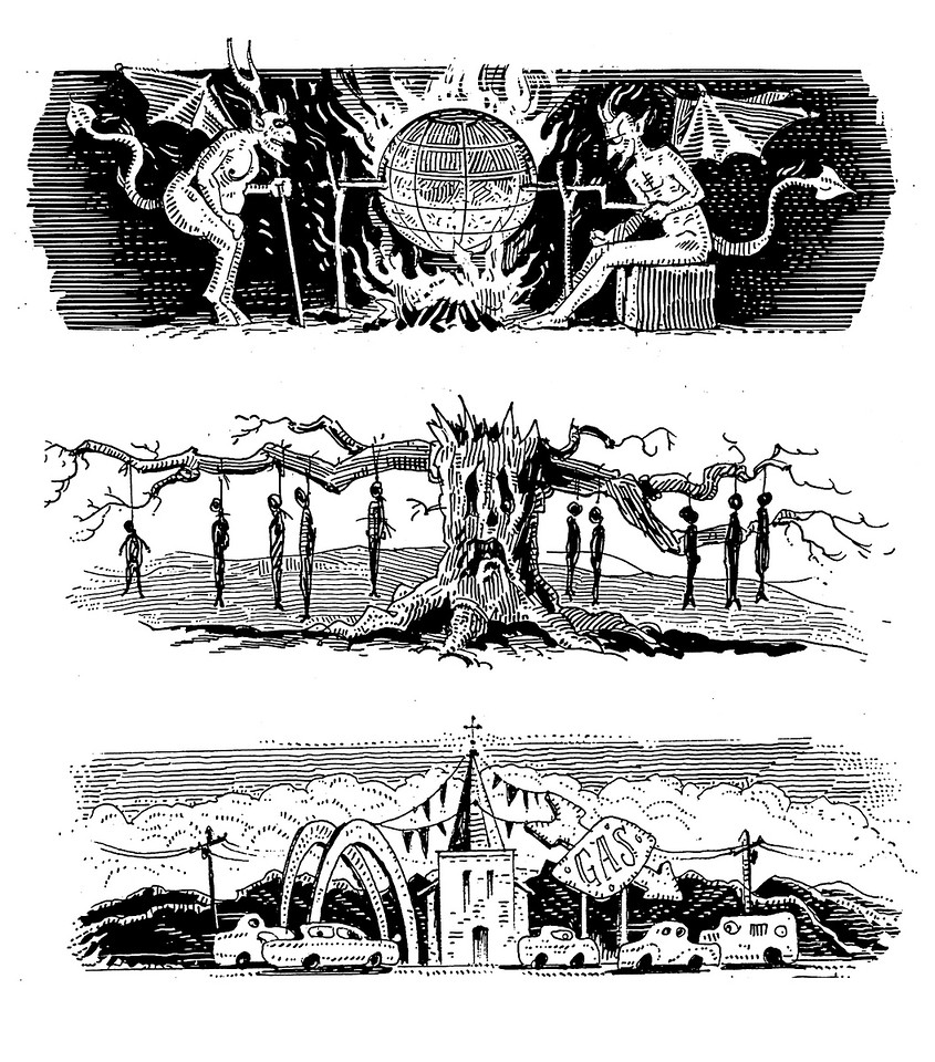 These are drawings that were designed to run with and to identify regularly appearing columns in The American Spectator. They were created around 1996, and they still appear from time to time in the magazine and it's website.