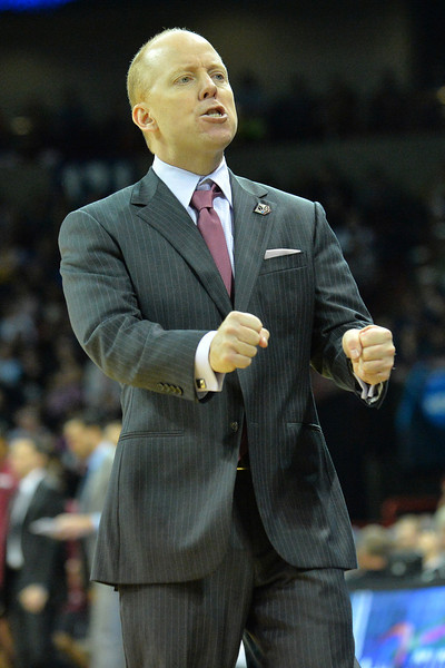 March 20, 2014: Cincinnati Bearcats head coach Mick Cronin reacts to a play during a second round game of the NCAA Division I Men's Basketball Championship between the 5-seed Cincinnati Bearcats and the 12-seed Harvard Crimson at Spokane Arena in Spokane, Wash. Harvard defeated Cincinnati 61-57.