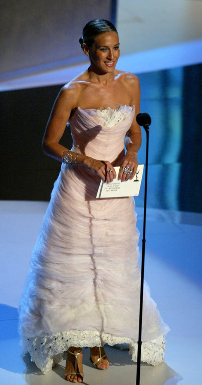 . Actress Sarah Jessica Parker present the award for Best Actor in a Miniseries on stage during the 55th Annual Primetime Emmy Awards at the Shrine Auditorium September 21, 2003 Los Angeles, California .  (Photo by Vincent Bucci/Getty Images)