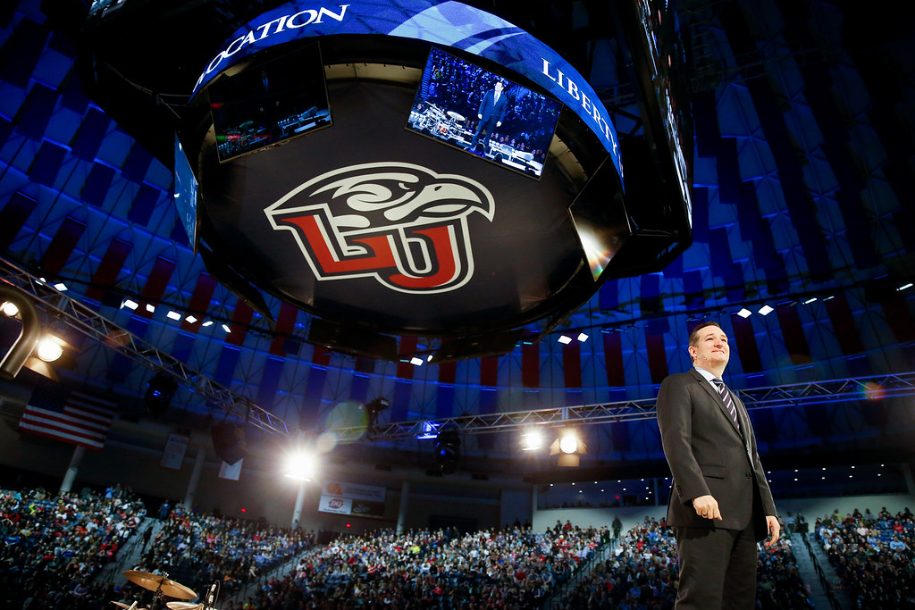 . Sen. Ted Cruz, R-Texas announces his campaign for president, Monday, March 23, 2015, at Liberty University, founded by the late Rev. Jerry Falwell, in Lynchburg, Va. Cruz, who announced his candidacy on twitter in the early morning hours, is the first major candidate in the 2016 race for president. (AP Photo/Andrew Harnik)