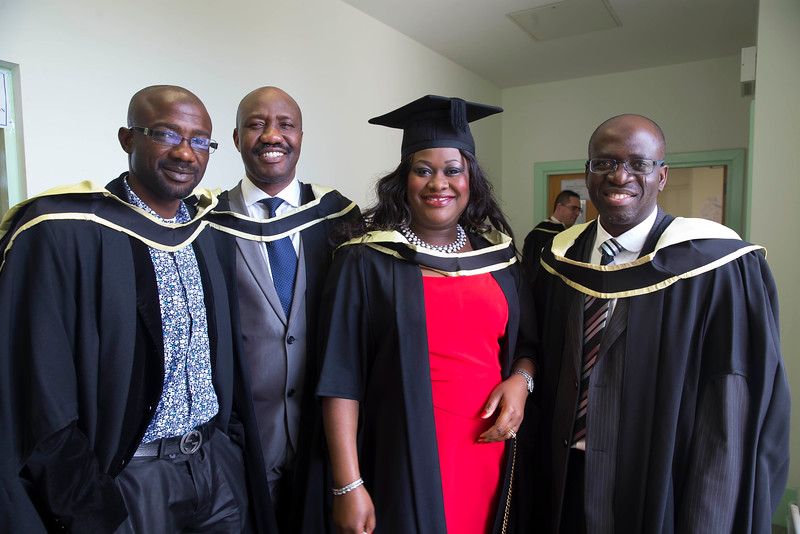 29/10/2015. Waterford Institute of Technology Conferring. Pictured are Babatunde Adewale, Joshua Oluborode, Cynthia Ehiagwina and Aderibigbe Bakinson Graduated Master of Science in Global Financial Information Systems. Picture: Patrick Browne