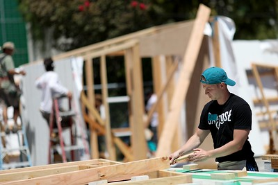 Photos: San Jose Sharks, SAP employees team up to build tiny homes for homeless