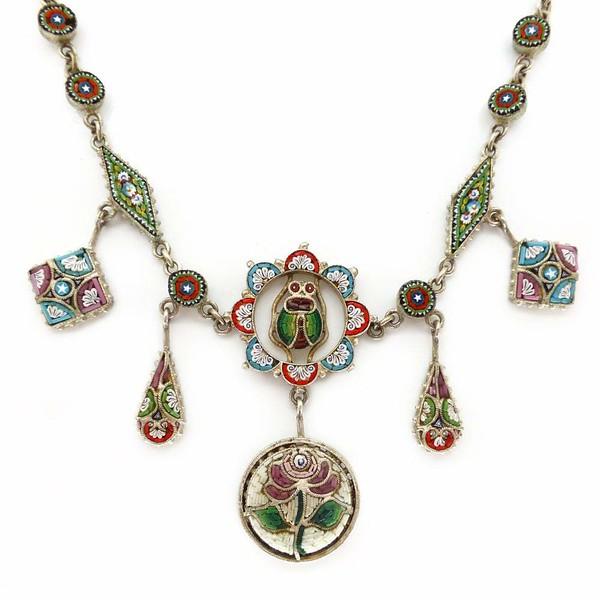 Vintage Art Deco Venetian Micro Mosaic Scarab Floral Panel Necklace
