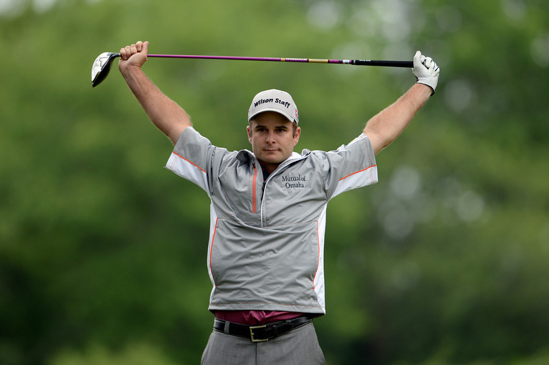 . Kevin Streelman of the United States stretches on the fifth tee during a continuation of Round One of the 113th U.S. Open at Merion Golf Club on June 14, 2013 in Ardmore, Pennsylvania.  (Photo by Ross Kinnaird/Getty Images)