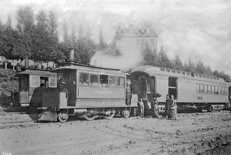 Los Angeles County Railroad engine Ivanhoe stopped at Sister's Hospital on Sunset Boulevard, ca.1887