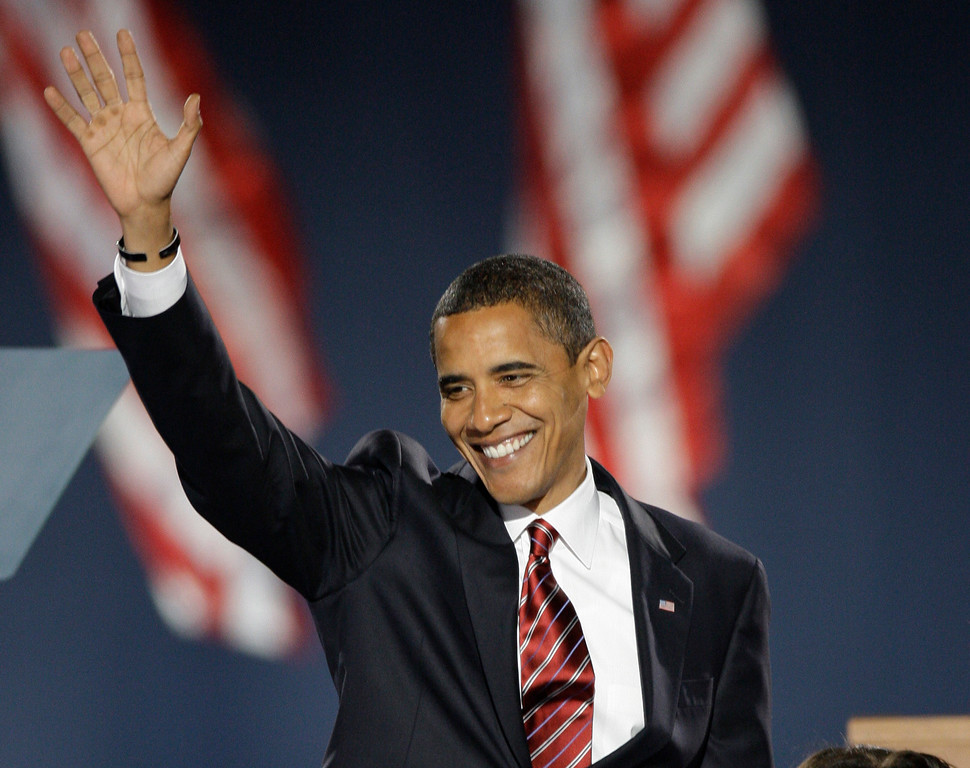 . 2008: Barack Obama. President-elect Barack Obama waves as he takes the stage at his election night party in Chicago\'s Grant Park, Tuesday, Nov. 4, 2008. (AP Photo/Morry Gash)