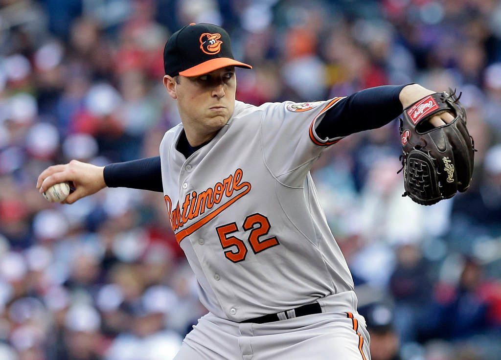 . Baltimore Orioles pitcher Steve Johnson throws against the Minnesota Twins in the first inning. (AP Photo/Jim Mone)