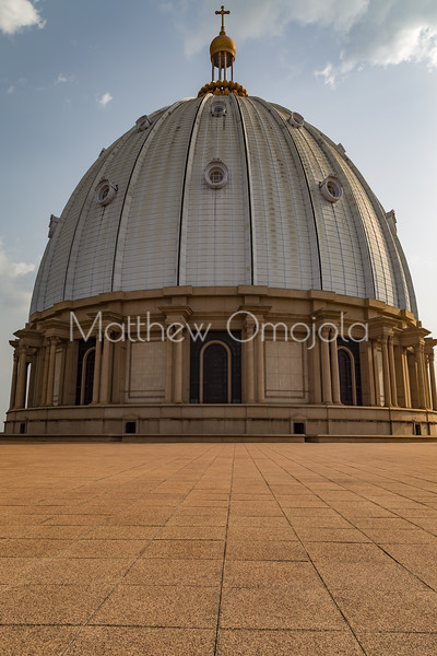 Basilica of Our Lady of Lady of Peace, Basilique Notre Dame de la Paix Yamoussoukro Ivory Coast Cote d'Ivoire. The main dome of the Basilica. The tallest in the world. ,