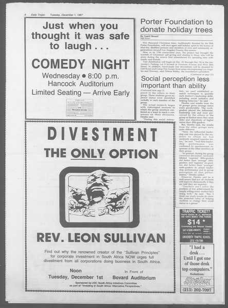 Daily Trojan, Vol. 105, No. 60, December 01, 1987