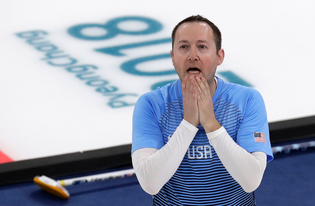 . United States\' Tyler George jubilate after winning the men\'s curling finals match against Sweden at the 2018 Winter Olympics in Gangneung, South Korea, Saturday, Feb. 24, 2018. United States won gold. (AP Photo/Aaron Favila)