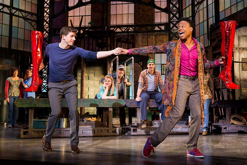 """. Actors Stark Sands (L) and Billy Porter sing during a performance of the play Kinky Boots in this undated handout photo provided by public relations company O&M Co. on April, 30, 2013. The musical \""""Kinky Boots,\"""" with the score by pop star Cyndi Lauper, on Tuesday earned 13 nominations for the Tony Awards, leading the field for Broadway\'s highest honor and closely followed by British import \""""Matilda,\"""" which received 12. REUTERS/O&M Co./Matthew Murphy/Handout"""