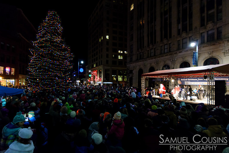 The lighting of the 2013 Christmas tree in Monument Square.