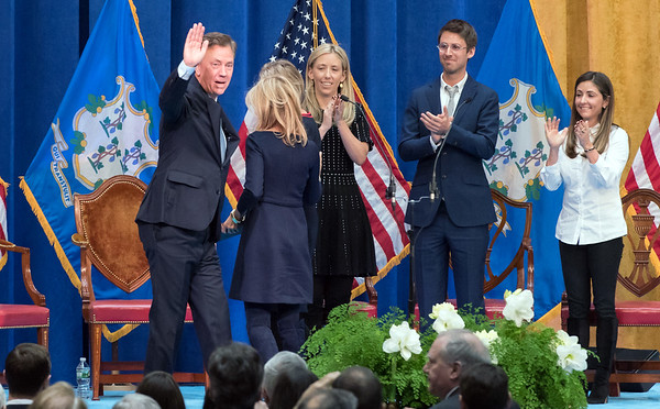 01/09/19 Wesley Bunnell | Staff Governor Ned Lamont waves to the crowd just after being administered the oath of office.