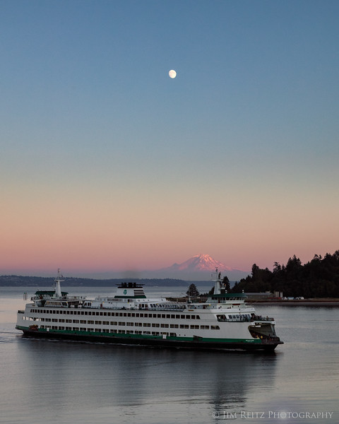 Moon rise over Mt. Rainier and WA State ferry.