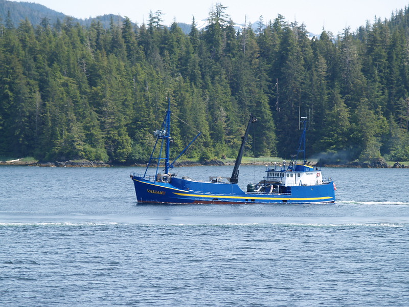 """One of the many fishing vessels in SE Alaska - this is the Valiant. She had to """"pull over"""" in a cove to allow the FVF Fairweather (the fast ferry) to pass as we transited Peril Straits on our way to Juneau (2009)."""