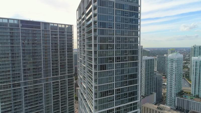 Aerial drone over Brickell Miami FL