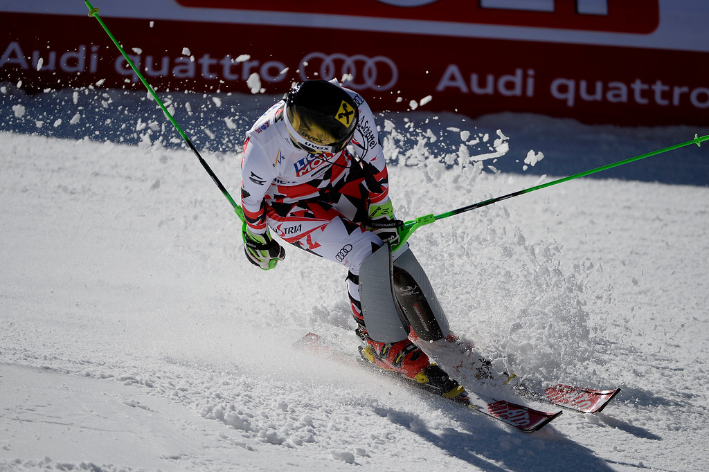 . Kathrin Zettel of Austria reacts to her run during the ladies\' slalom. FIS Alpine World Ski Championships 2015 on Saturday, February 14, 2015. (Photo by AAron Ontiveroz/The Denver Post)