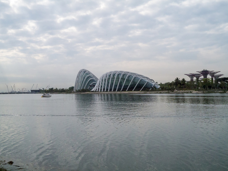 View across the Kallang River of the Gardens by the bay