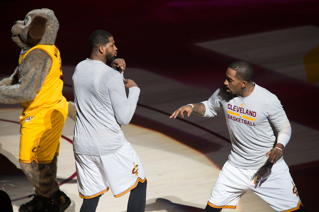 . Michael Johnson - The News-Herald Tristan Thompson (left) and JR Smith (right) of the Cleveland Cavaliers greet each other before a home game against the Portland Trailblazers on November 23, 2016 at the Quicken Loans Arena.