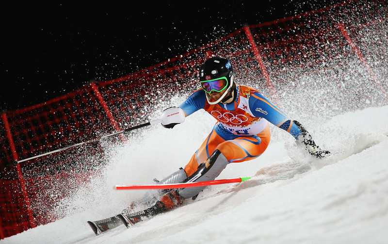 . Leif Kristian Haugen of Norway in action in the second run during the Men\'s Slalom during day 15 of the Sochi 2014 Winter Olympics at Rosa Khutor Alpine Center on February 22, 2014 in Sochi, Russia.  (Photo by Doug Pensinger/Getty Images)