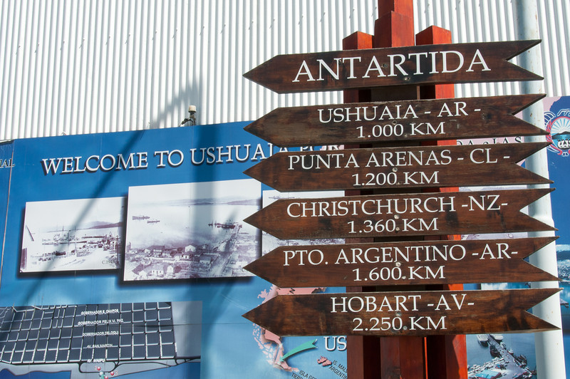 Mileage signs in Ushuaia, Argentina