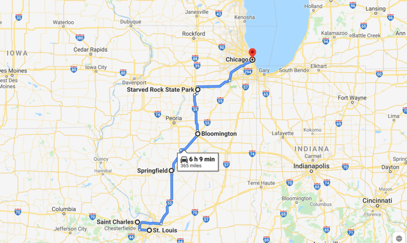 st louis to chicago map