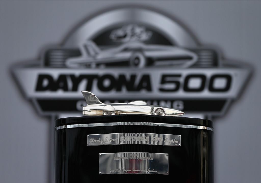. DAYTONA BEACH, FL - FEBRUARY 20:  A view the Harley J. Earl Trophy during practice for the NASCAR Sprint Cup Series Daytona 500 at Daytona International Speedway on February 20, 2013 in Daytona Beach, Florida.  (Photo by Jonathan Ferrey/Getty Images)