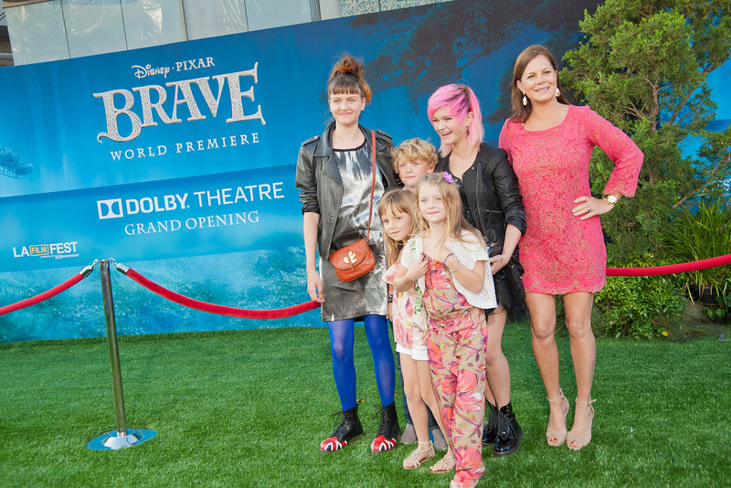 HOLLYWOOD, CA - JUNE 18: Actress Marcia Gay Harden (far R) and guests arrive at Disney Pixar's 'Brave' World Premiere at Dolby Theatre on June 18, 2012 in Hollywood, California. (Photo by Tom Sorensen/Moovieboy Pictures)