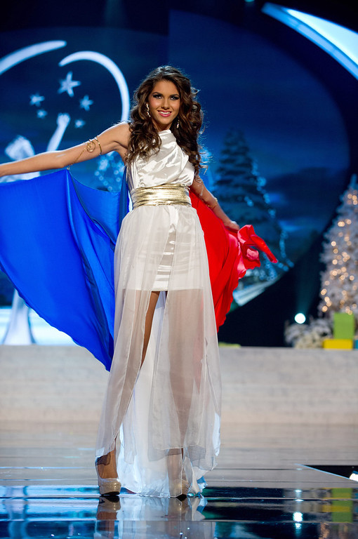. Miss France 2012, Marie Payet, performs onstage at the 2012 Miss Universe National Costume Show on Friday, Dec. 14, 2012 at PH Live in Las Vegas, Nevada. The 89 Miss Universe Contestants will compete for the Diamond Nexus Crown on Dec. 19, 2012. (AP Photo/Miss Universe Organization L.P., LLLP)