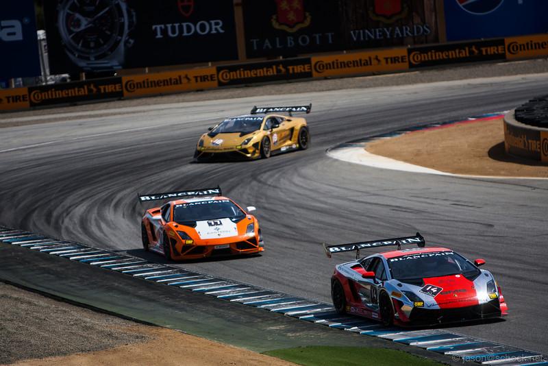 Some fancy Lamborghinis at Turn 11.