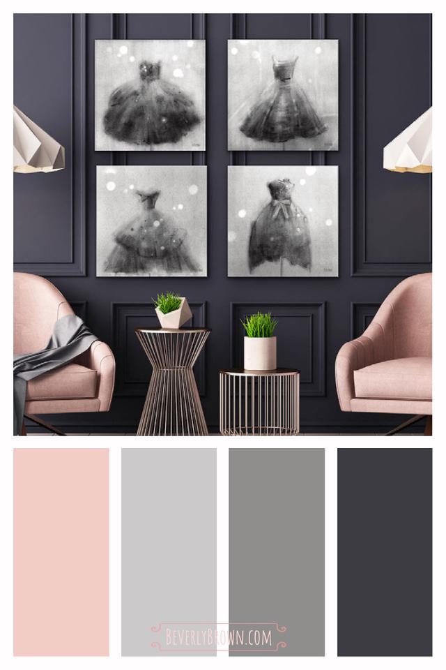 Charcoal Grey & Pink Decor Color Scheme