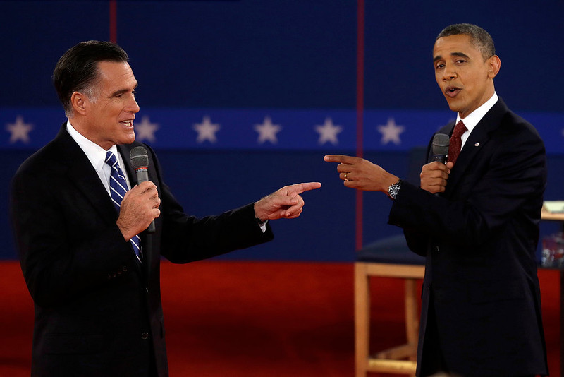 ". In this Tuesday, Oct. 16, 2012 file photo, Republican presidential nominee Mitt Romney and President Barack Obama spar during the second presidential debate at Hofstra University, in Hempstead, N.Y. ""Presidential Debate\"" ranked as Google\'s sixth most searched trending event of 2012. (AP Photo/Charlie Neibergall)"