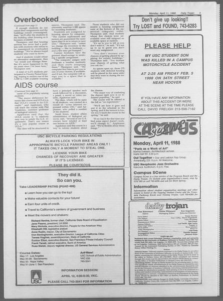 Daily Trojan, Vol. 106, No. 57, April 11, 1988