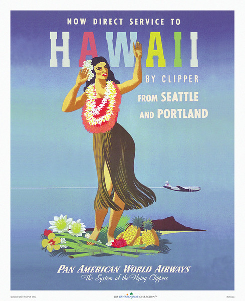 055: Pan Am World Airways: 'Hawaii by Clipper' - Vintage Hawaiian Panam Airline Poster by John Atherton, ca. 1948, showing a gracefully swaying Jane Russell look-alike hula dancer wearing pink and white leis standing amid tropical plants, sugar cane stalks, and pineapples, with Diamond Head in the background, and Pan Am's famous China Clipper overhead. The Clipper was the largest flying boat ever built, and featured a central lounge fitted with broad armchairs and meals that were served on china with silverware.