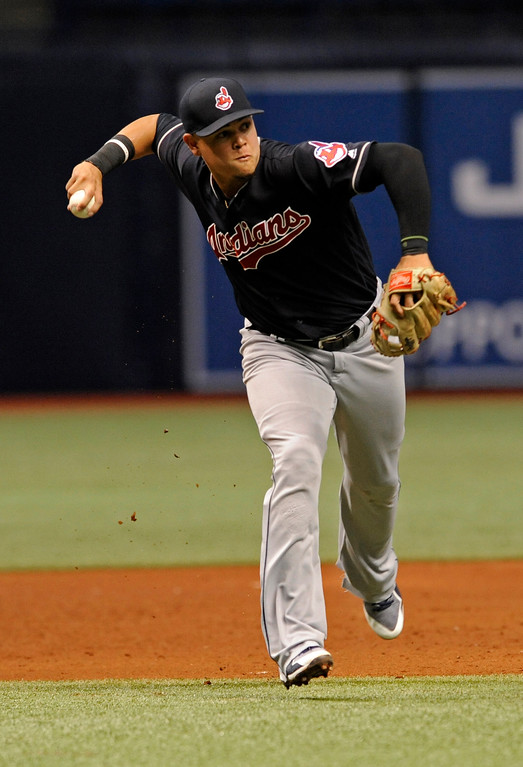 . Cleveland Indians third baseman Giovanny Urshela fields a ground ball hit by Tampa Bay Rays\' Mallex Smith during the sixth inning of a baseball game Friday, Aug. 11, 2017, in St. Petersburg, Fla. (AP Photo/Steve Nesius)