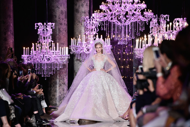 . A model walks the runway during the Elie Saab show as part of Paris Fashion Week - Haute Couture Fall/Winter 2014-2015 at Pavillon Cambon Capucines on July 9, 2014 in Paris, France.  (Photo by Pascal Le Segretain/Getty Images)